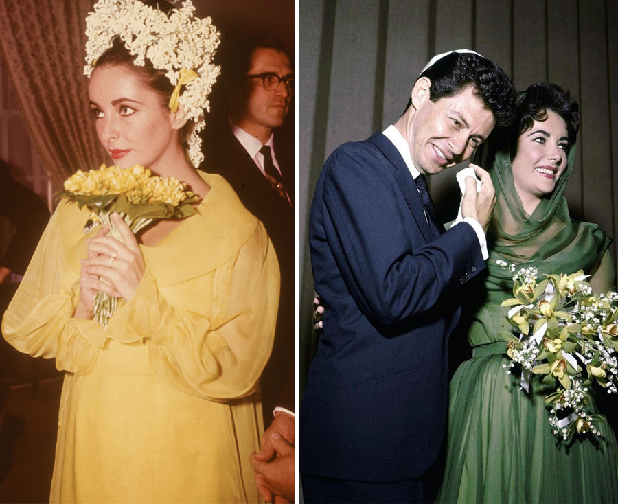 Non White Wedding Dresses - Elizabeth Taylor Yellow And Green Wedding Dresses