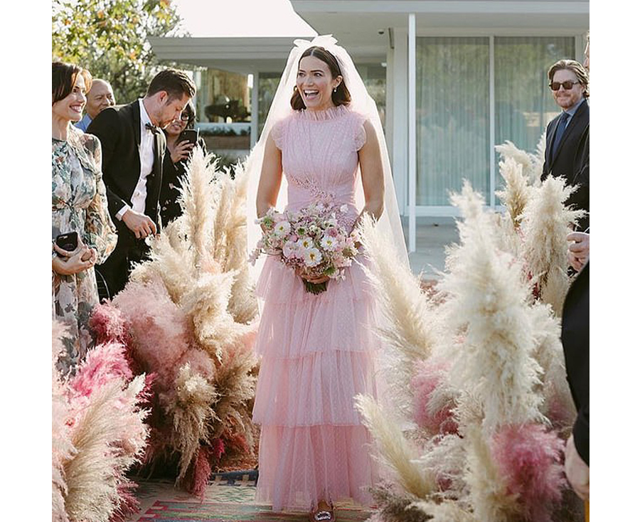 Non White Wedding Dresses - Mandy Moore Pink Rodarte Wedding Gown