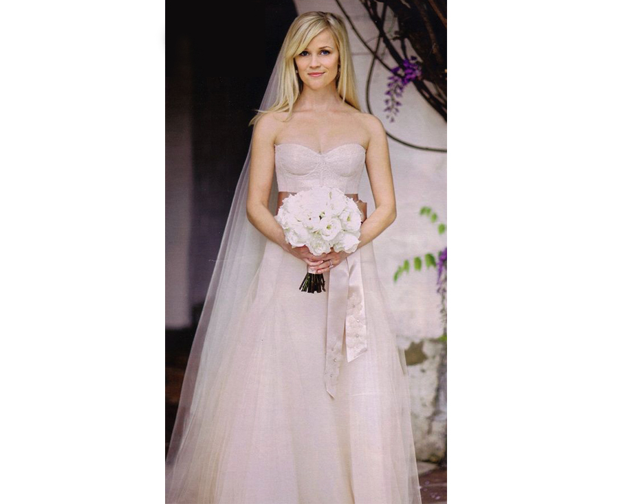 Non White Wedding Dresses - Reese Witherspoon Pink Wedding Dress